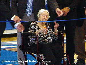 Ruby Hall age 101 cutting ribbon at Stryker HS dedication
