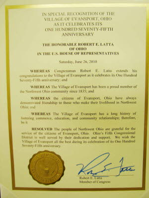 Proclamation by Congressman Latta